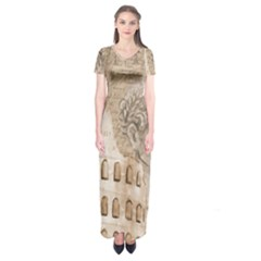 Colosseum Rome Caesar Background Short Sleeve Maxi Dress by Celenk