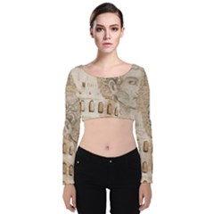 Colosseum Rome Caesar Background Velvet Long Sleeve Crop Top