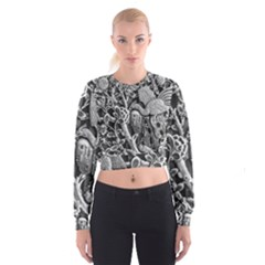 Black And White Pattern Texture Cropped Sweatshirt