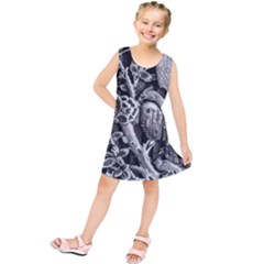 Black And White Pattern Texture Kids  Tunic Dress by Celenk