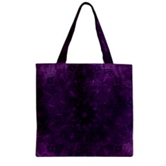 Background Purple Mandala Lilac Zipper Grocery Tote Bag by Celenk