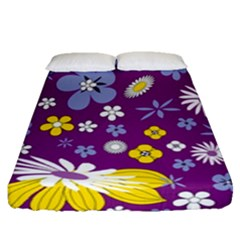 Floral Flowers Fitted Sheet (queen Size) by Celenk