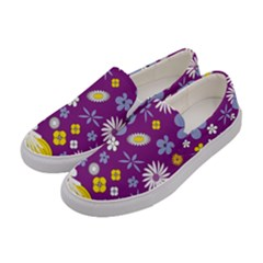 Floral Flowers Women s Canvas Slip Ons by Celenk