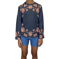 Floral Vintage Royal Frame Pattern Kids  Long Sleeve Swimwear by Celenk