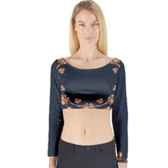 Floral Vintage Royal Frame Pattern Long Sleeve Crop Top