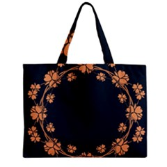 Floral Vintage Royal Frame Pattern Zipper Mini Tote Bag by Celenk