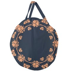 Floral Vintage Royal Frame Pattern Giant Round Zipper Tote