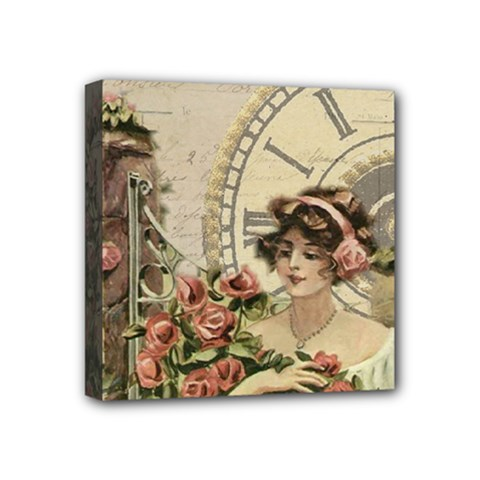French Vintage Girl Roses Clock Mini Canvas 4  X 4