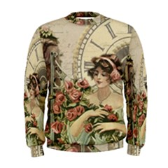 French Vintage Girl Roses Clock Men s Sweatshirt by Celenk