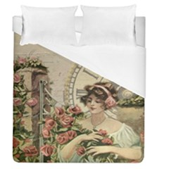 French Vintage Girl Roses Clock Duvet Cover (queen Size) by Celenk