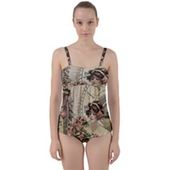 French Vintage Girl Roses Clock Twist Front Tankini Set by Celenk