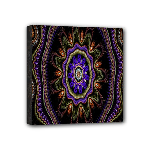 Fractal Vintage Colorful Decorative Mini Canvas 4  X 4