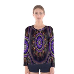 Fractal Vintage Colorful Decorative Women s Long Sleeve Tee