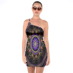Fractal Vintage Colorful Decorative One Soulder Bodycon Dress