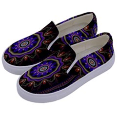 Fractal Vintage Colorful Decorative Kids  Canvas Slip Ons by Celenk