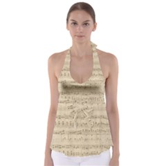 Vintage Beige Music Notes Babydoll Tankini Top by Celenk