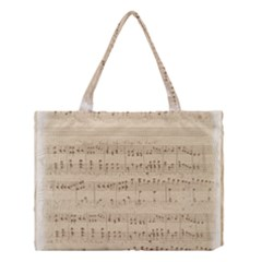 Vintage Beige Music Notes Medium Tote Bag by Celenk