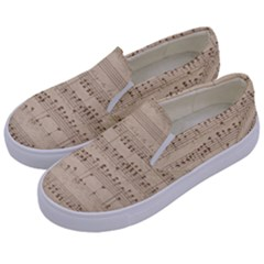 Vintage Beige Music Notes Kids  Canvas Slip Ons by Celenk