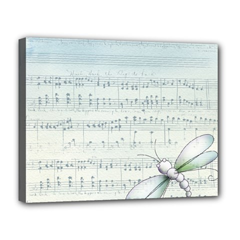Vintage Blue Music Notes Canvas 14  X 11  by Celenk