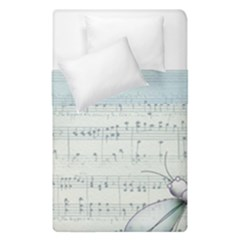 Vintage Blue Music Notes Duvet Cover Double Side (single Size)