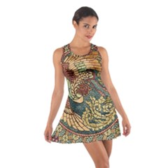 Wings Feathers Cubism Mosaic Cotton Racerback Dress