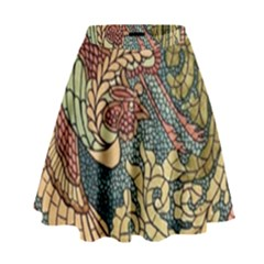 Wings Feathers Cubism Mosaic High Waist Skirt by Celenk