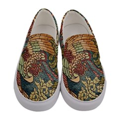 Wings Feathers Cubism Mosaic Women s Canvas Slip Ons