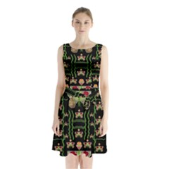 Roses In The Soft Hands Makes A Smile Pop Art Sleeveless Waist Tie Chiffon Dress by pepitasart