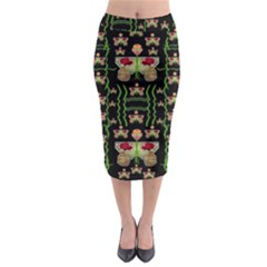 Roses In The Soft Hands Makes A Smile Pop Art Midi Pencil Skirt by pepitasart