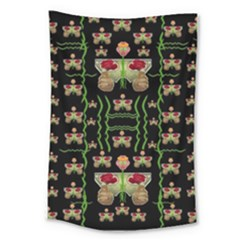 Roses In The Soft Hands Makes A Smile Pop Art Large Tapestry by pepitasart