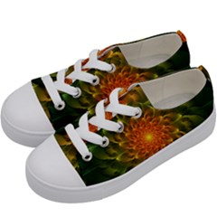 Beautiful Orange Green Desert Cactus Fractalspiral Kids  Low Top Canvas Sneakers by jayaprime