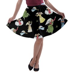 Christmas Angels  A-line Skater Skirt by Valentinaart