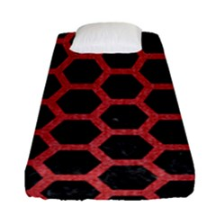 Hexagon2 Black Marble & Red Denim (r) Fitted Sheet (single Size) by trendistuff