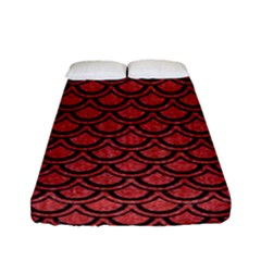 Scales2 Black Marble & Red Denim Fitted Sheet (full/ Double Size) by trendistuff