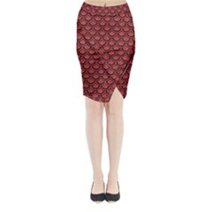 Scales2 Black Marble & Red Denim Midi Wrap Pencil Skirt