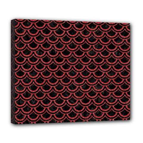 Scales2 Black Marble & Red Denim (r) Deluxe Canvas 24  X 20   by trendistuff