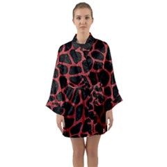Skin1 Black Marble & Red Denim Long Sleeve Kimono Robe by trendistuff