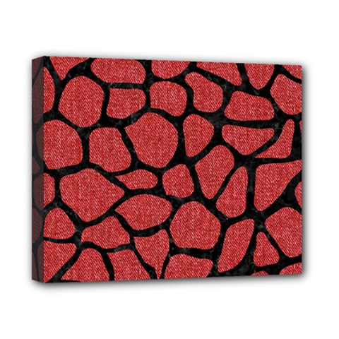 Skin1 Black Marble & Red Denim (r) Canvas 10  X 8  by trendistuff