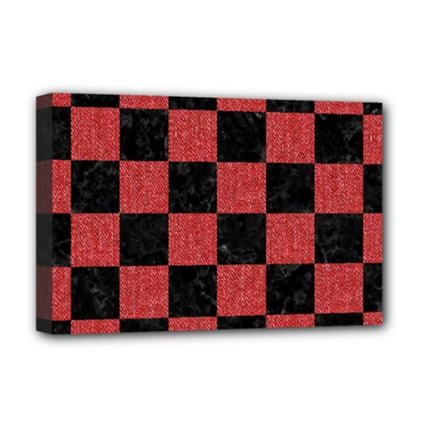 Square1 Black Marble & Red Denim Deluxe Canvas 18  X 12   by trendistuff