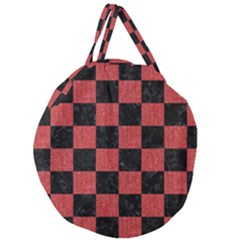 Square1 Black Marble & Red Denim Giant Round Zipper Tote