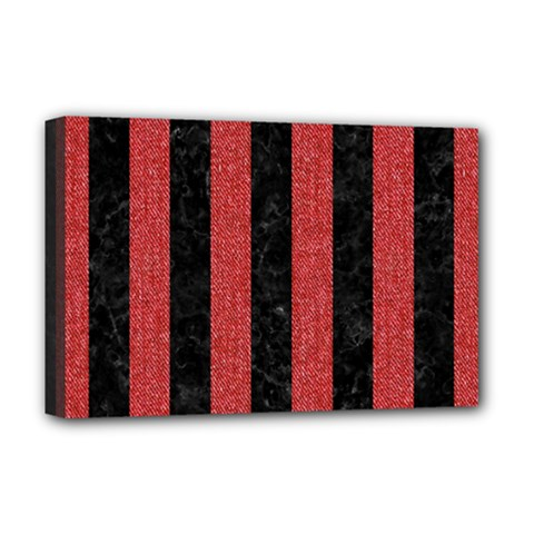 Stripes1 Black Marble & Red Denim Deluxe Canvas 18  X 12   by trendistuff