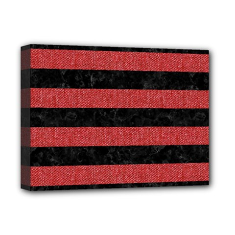 Stripes2 Black Marble & Red Denim Deluxe Canvas 16  X 12   by trendistuff