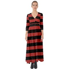 Stripes2 Black Marble & Red Denim Button Up Boho Maxi Dress