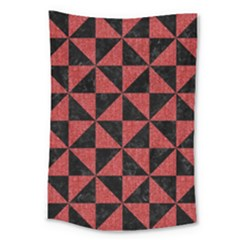 Triangle1 Black Marble & Red Denim Large Tapestry by trendistuff