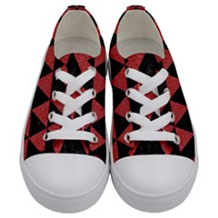 Triangle3 Black Marble & Red Denim Kids  Low Top Canvas Sneakers