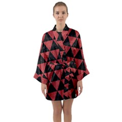 Triangle3 Black Marble & Red Denim Long Sleeve Kimono Robe