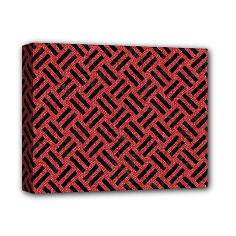 Woven2 Black Marble & Red Denim Deluxe Canvas 14  X 11  by trendistuff