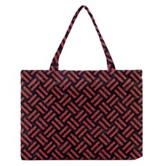 Woven2 Black Marble & Red Denim (r) Zipper Medium Tote Bag by trendistuff