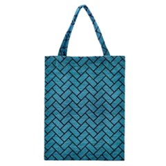 Brick2 Black Marble & Teal Brushed Metal Classic Tote Bag by trendistuff