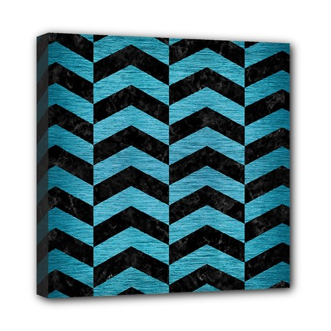 Chevron2 Black Marble & Teal Brushed Metal Mini Canvas 8  X 8  by trendistuff